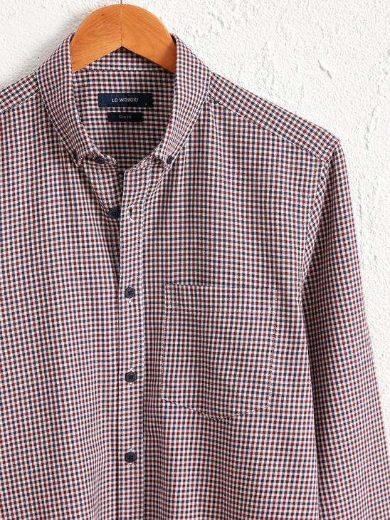 BORDEAUX - Slim Fit Long Sleeve Chequered Gabardine Shirt - 0W5537Z8