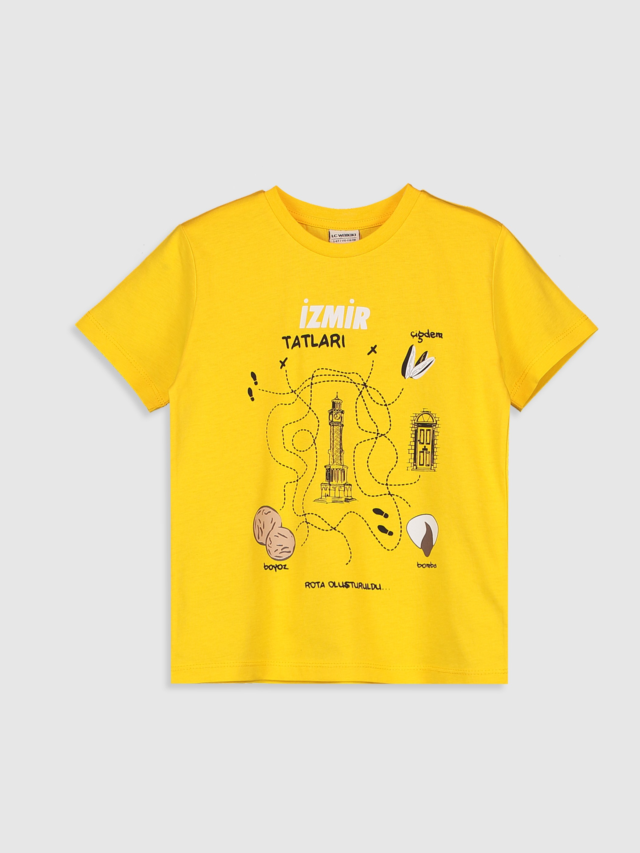 YELLOW - Boy's Printed Cotton T-Shirt - 0SQ183Z4