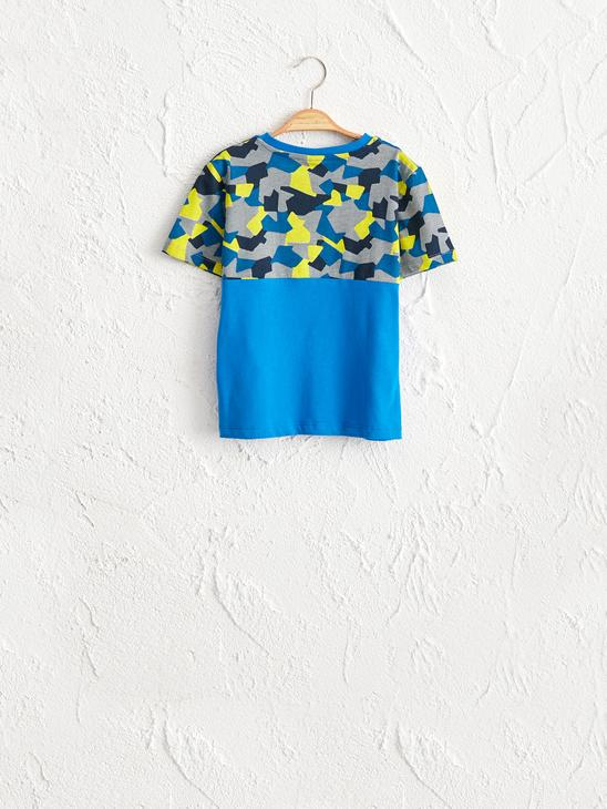BLUE - Boy's Printed Cotton T-Shirt - 0W5887Z4
