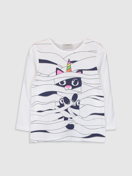 ECRU - Girl's Printed Cotton T-Shirt - 0W5979Z4