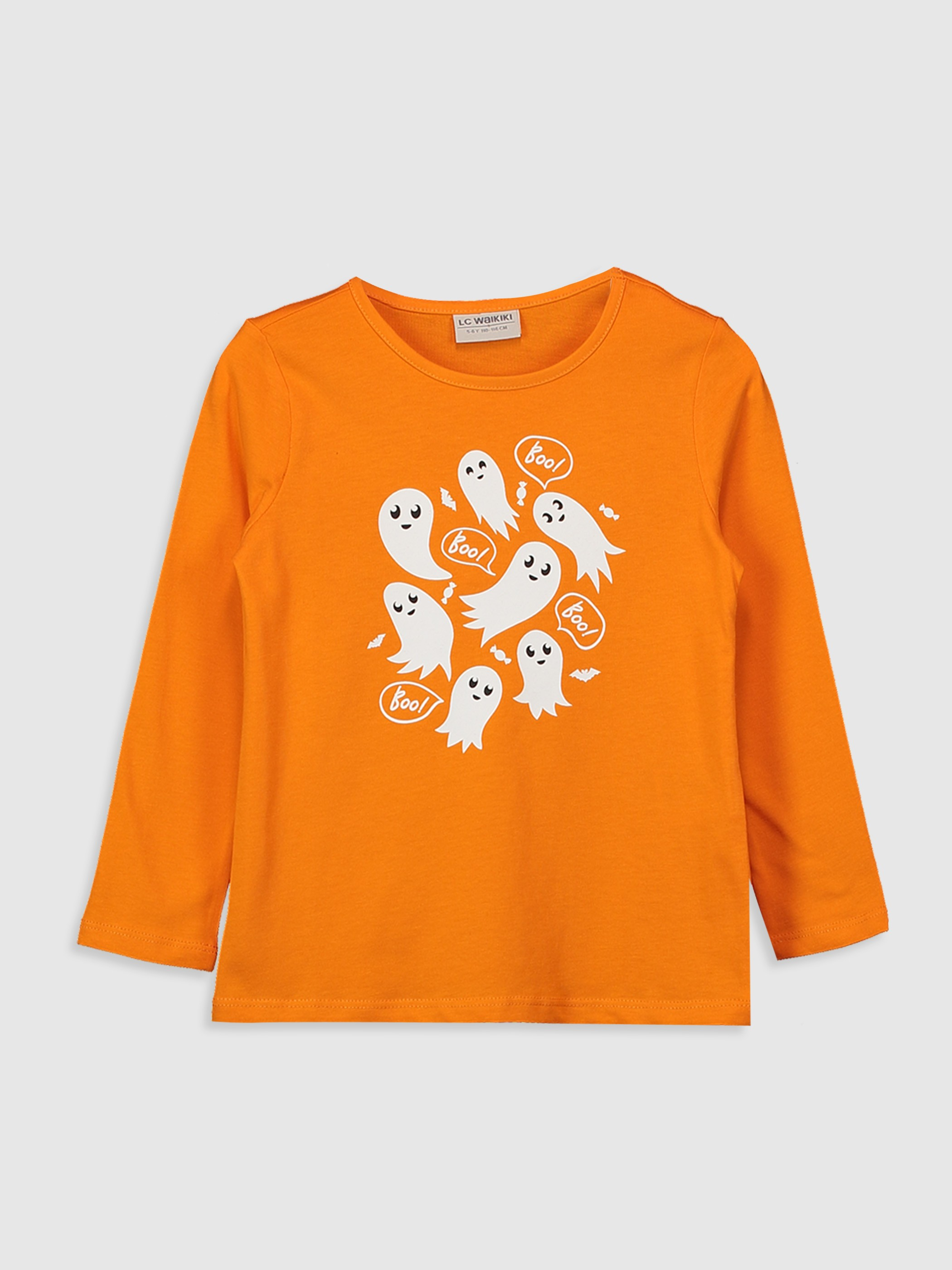 ORANGE - Girl's Printed Cotton T-Shirt - 0W6132Z4