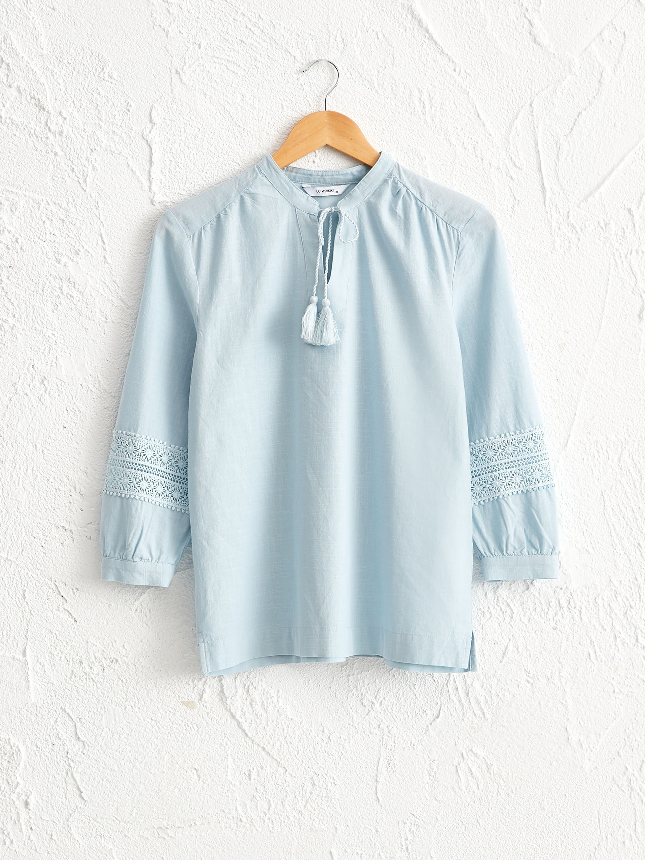 BLUE - Lace Detailed Cotton Blouse - 0SQ968Z8