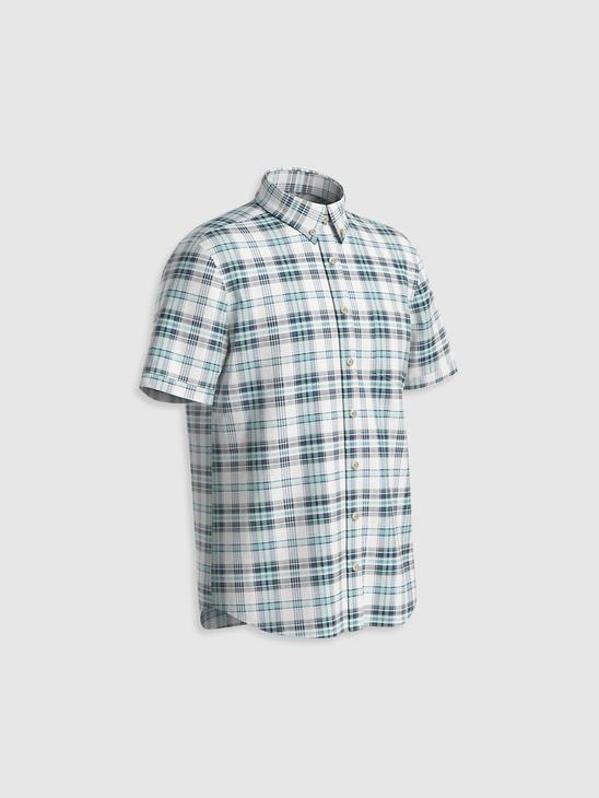 TURQUOISE - Regular Fit Short Sleeve Chequered Poplin Shirt - 0W6620Z8