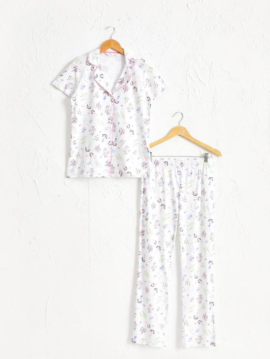 ECRU - Printed Cotton Pyjamas Set - 0SR690Z8