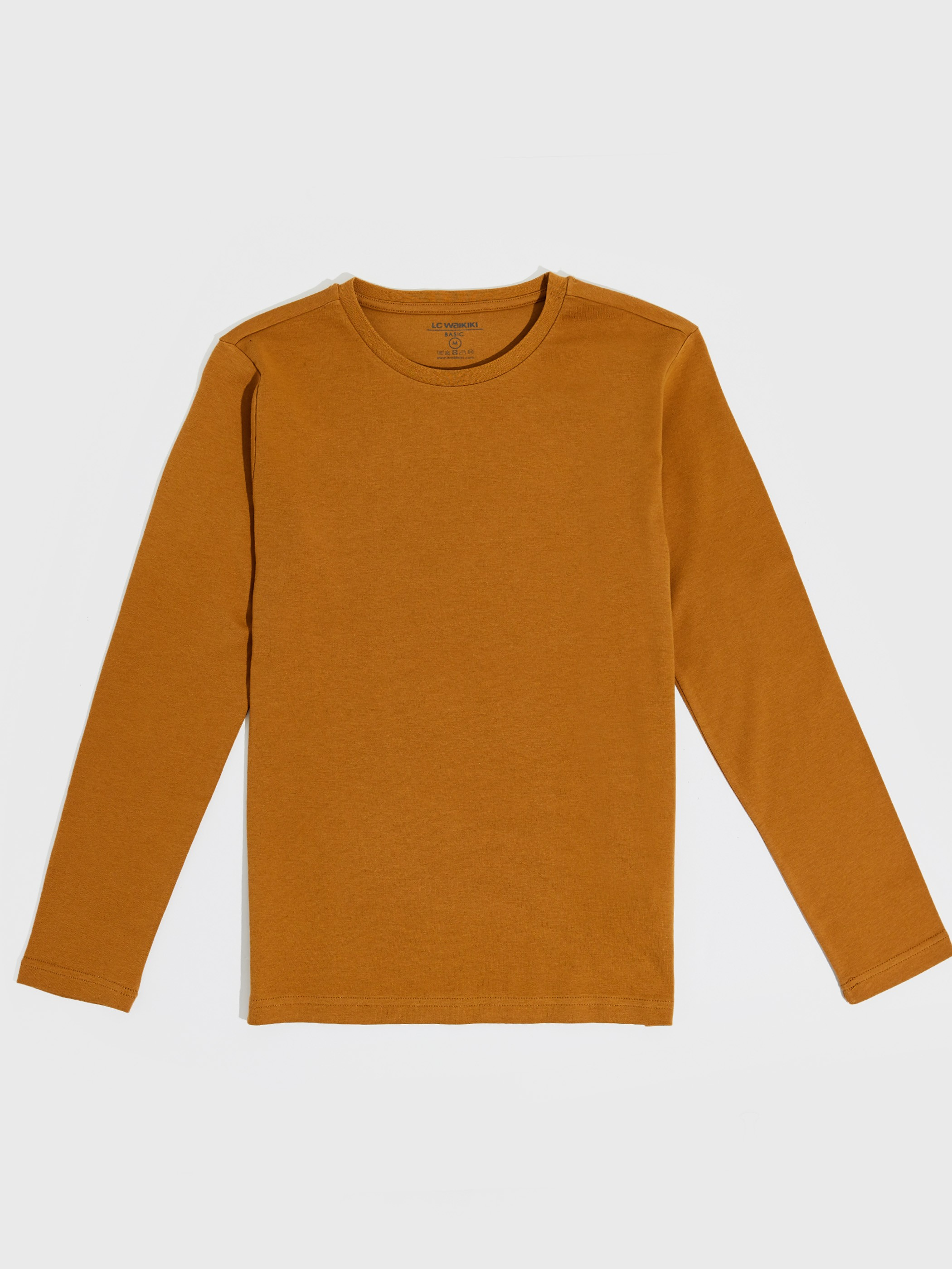BROWN - Crew Neck Basic Long Sleeve T-Shirt - 0SR611Z8