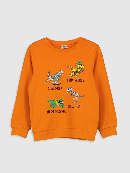 ORANGE - Boy's Printed Cotton T-Shirt - 0W7640Z4
