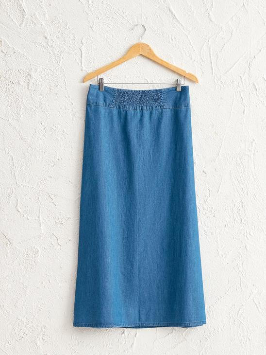BLUE - Zip-Down Jean Skirt - 0SR907Z8