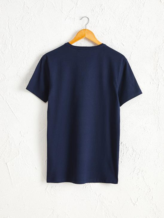 NAVY - Crew Neck Printed Combed Cotton T-Shirt - 0SS233Z8