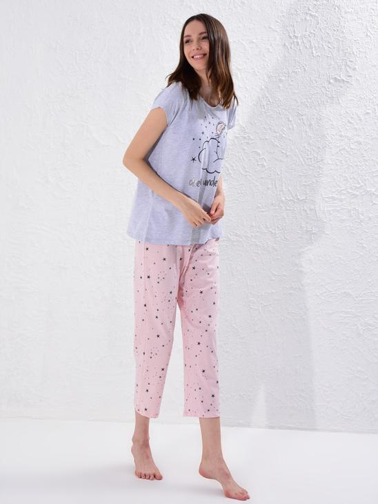PINK - Printed Cotton Pyjamas Set - 0SS306Z8