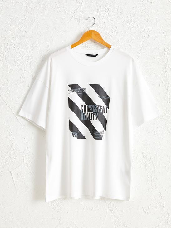 WHITE - Crew Neck Printed Combed Cotton T-Shirt - 0SS230Z8