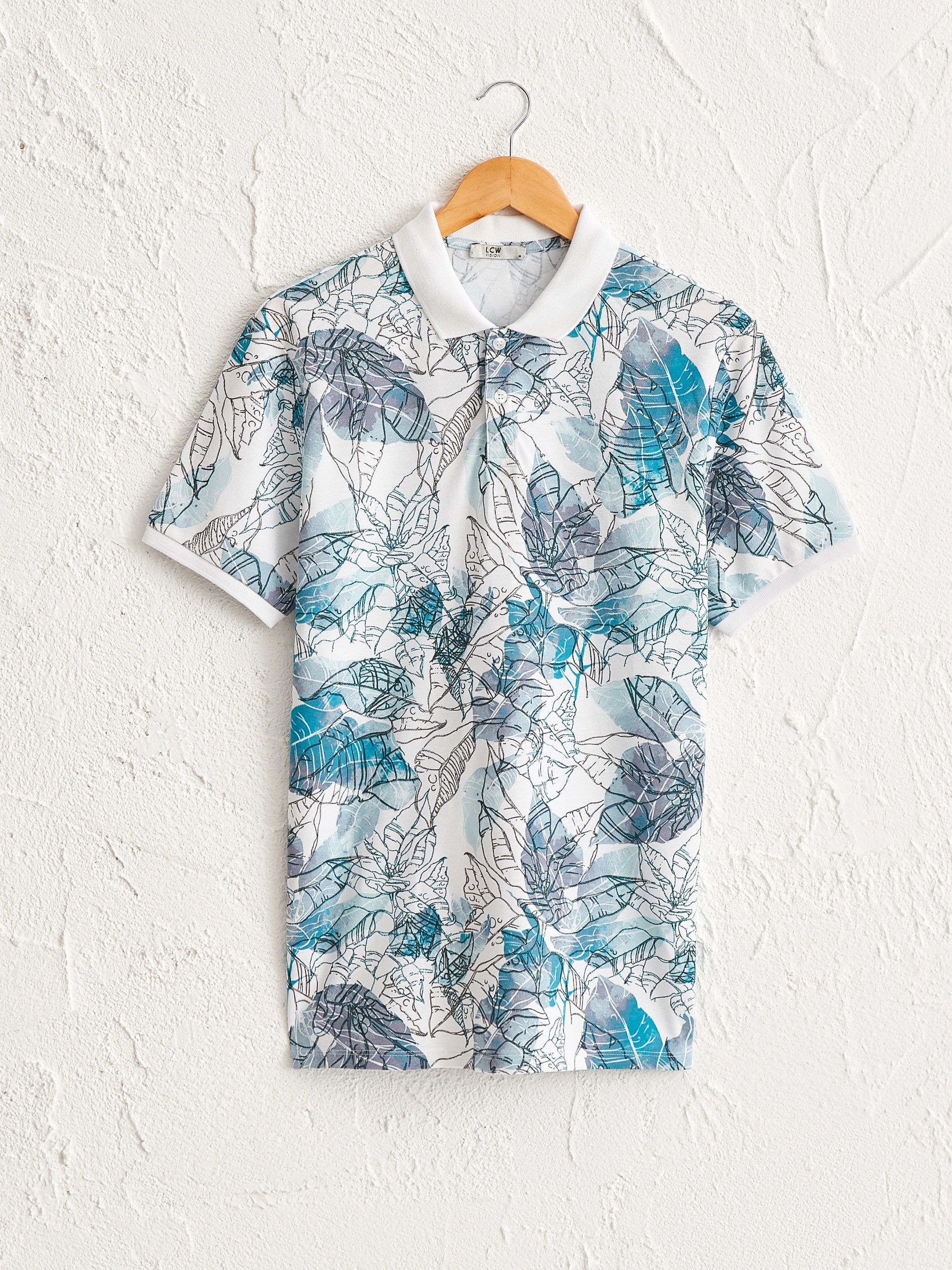 TURQUOISE - Polo Neck Short Sleeve Printed Pique T-Shirt - 0ST504Z8