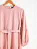 PINK - Belted Long Dress from Textured Fabric - 0ST650Z8