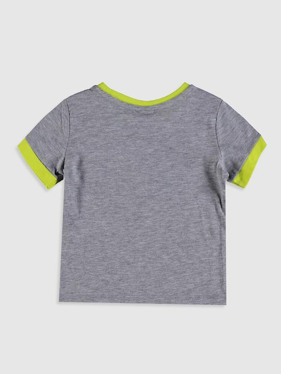 GREY - Boy's Printed Cotton T-Shirt - 0SU048Z4
