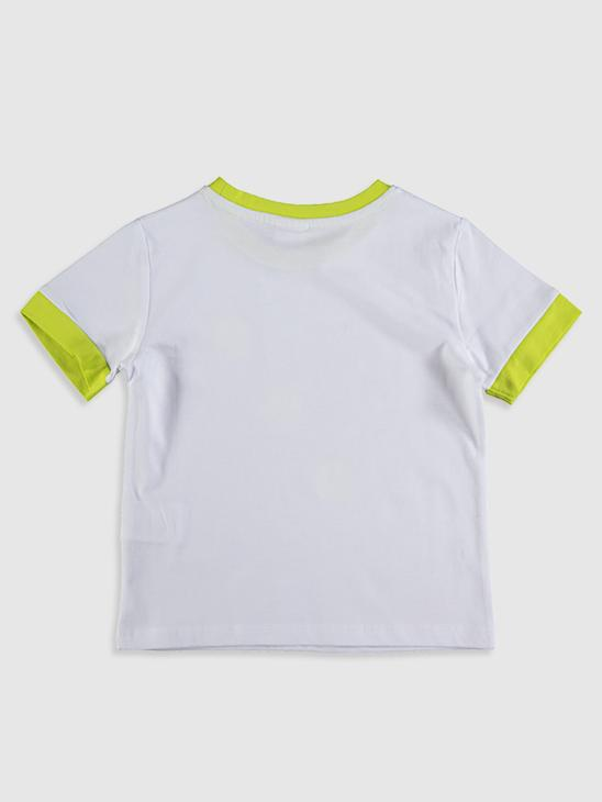WHITE - Boy's Printed Cotton T-Shirt - 0SU048Z4