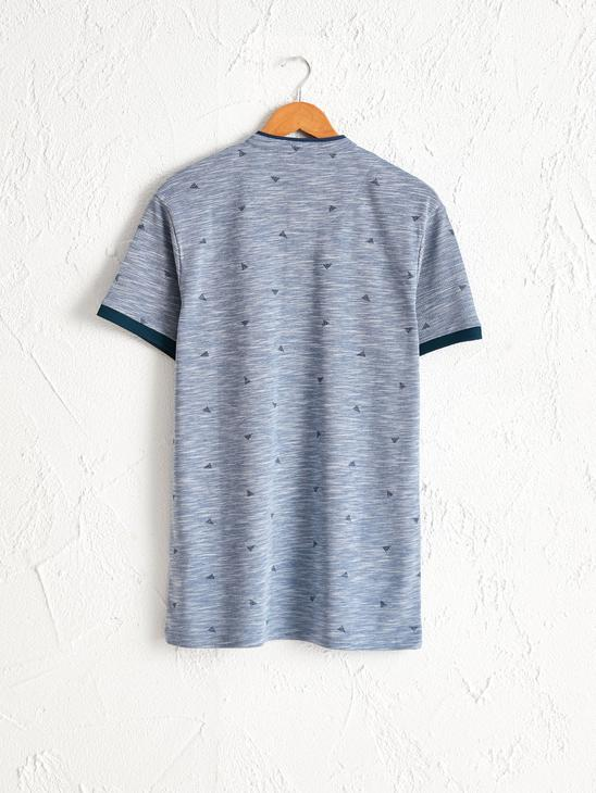 BLUE - Grandad Neck and Short Sleeve Figured Pique T-Shirt - 0SU386Z8