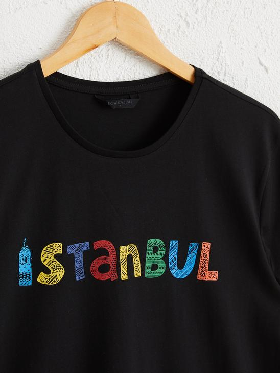 BLACK - Crew Neck Istanbul Printed Short Sleeve Cotton T-Shirt - 0SU330Z8