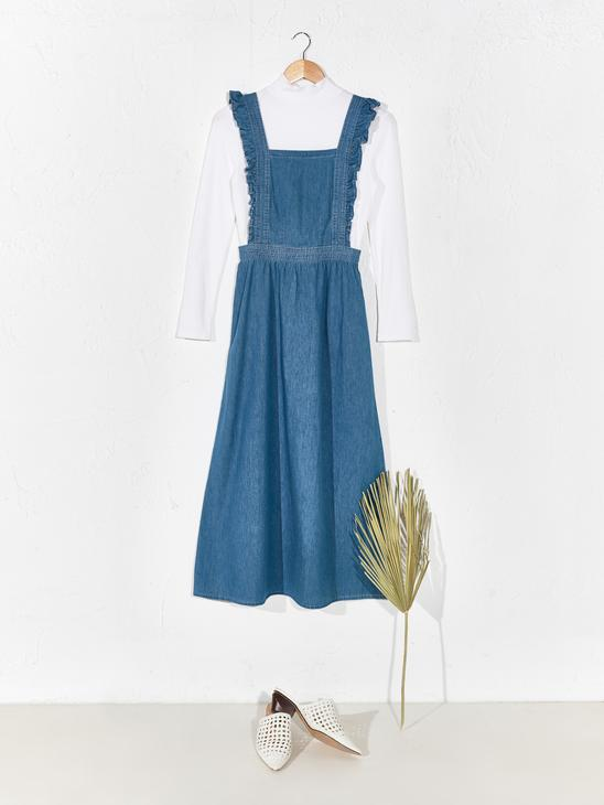 INDIGO - Ruffle Detailed Jean Gilet Dress - 0SU450Z8
