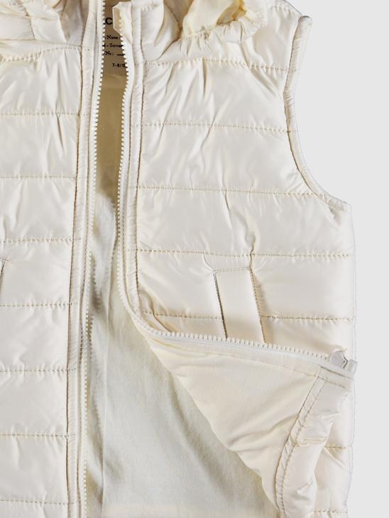 BEIGE - Girl's Puffer Vest with Hood - 0SU403Z4