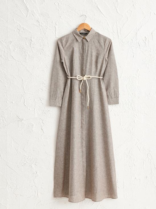 BROWN - Belted and Figured Dress - 0SU467Z8