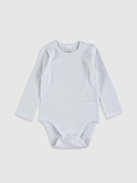 WHITE - Baby Boy Cotton Snap Fastener Body 5 Pieces - 0SU603Z1