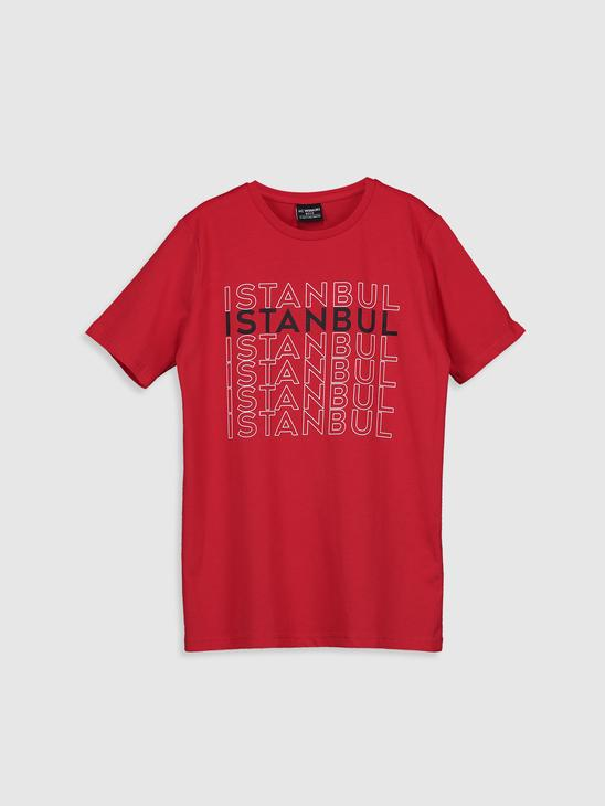 RED - Boy's Istanbul Printed Cotton T-Shirt - 0SU653Z4