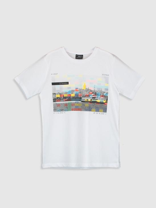 WHITE - Boy's Istanbul Themed Cotton T-Shirt Father and Son Matching - 0SU648Z4
