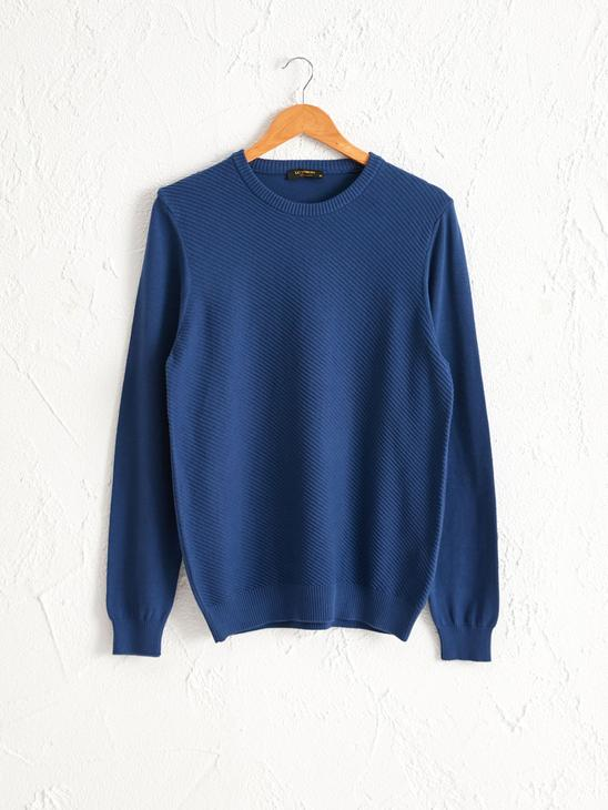 NAVY - Crew Neck Basic Lightweight Tricot Jumper - 0W9907Z8