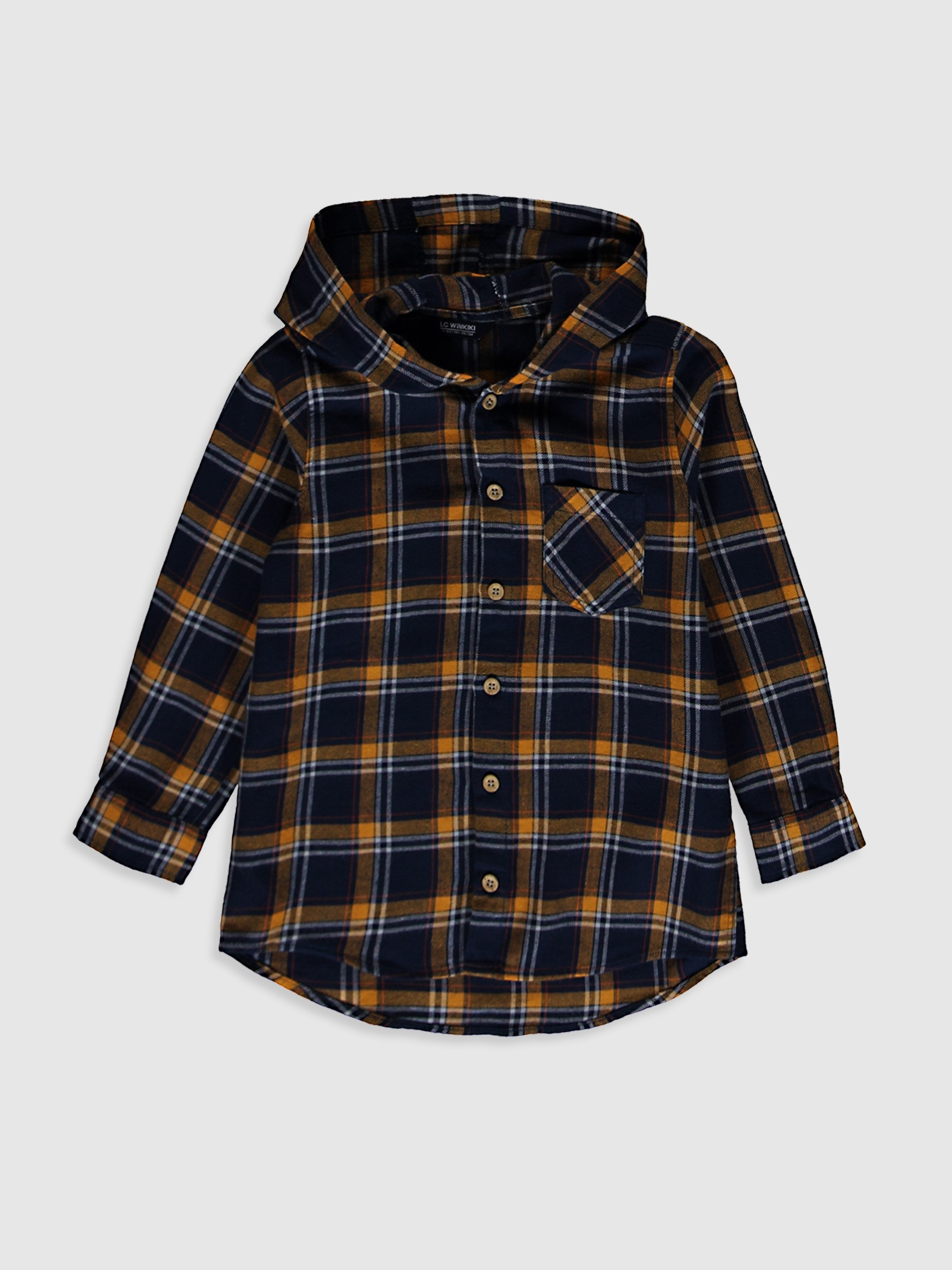 NAVY - Boy's Chequered Shirt with Hood - 0WG866Z4