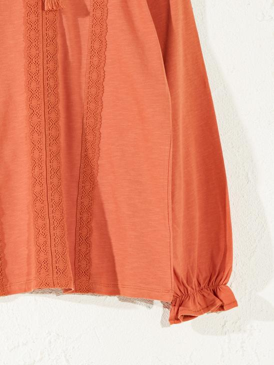 ORANGE - Lace Detailed Cotton T-Shirt - 0SV568Z8