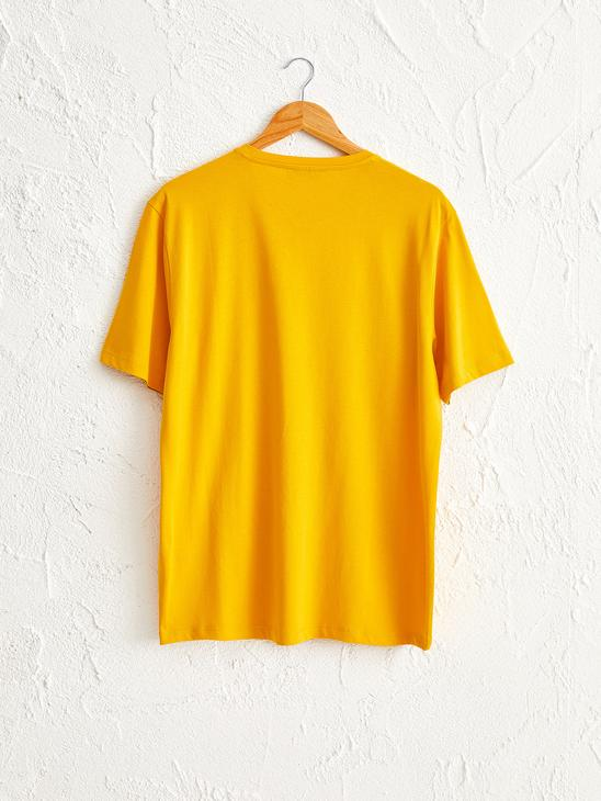 YELLOW - Crew Neck Printed Combed Cotton T-Shirt - 0SV707Z8