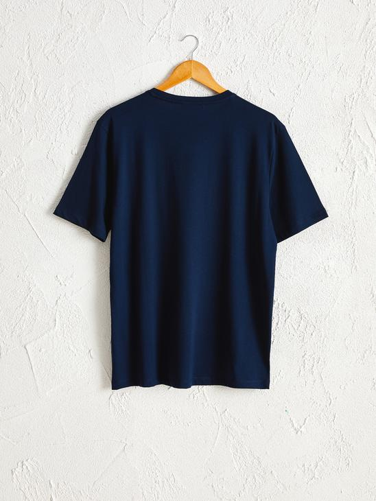 NAVY - Crew Neck Printed Combed Cotton T-Shirt - 0SV707Z8