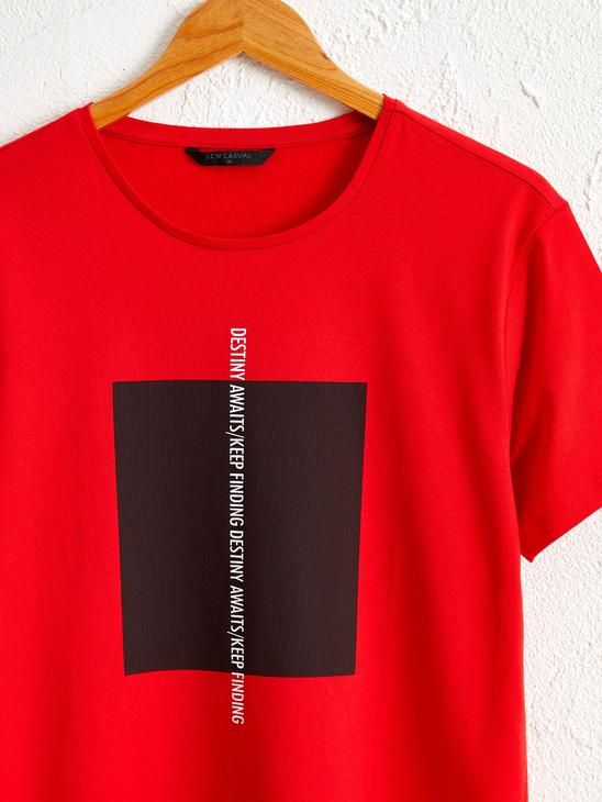 RED - Crew Neck Printed Combed Cotton T-Shirt - 0SY133Z8
