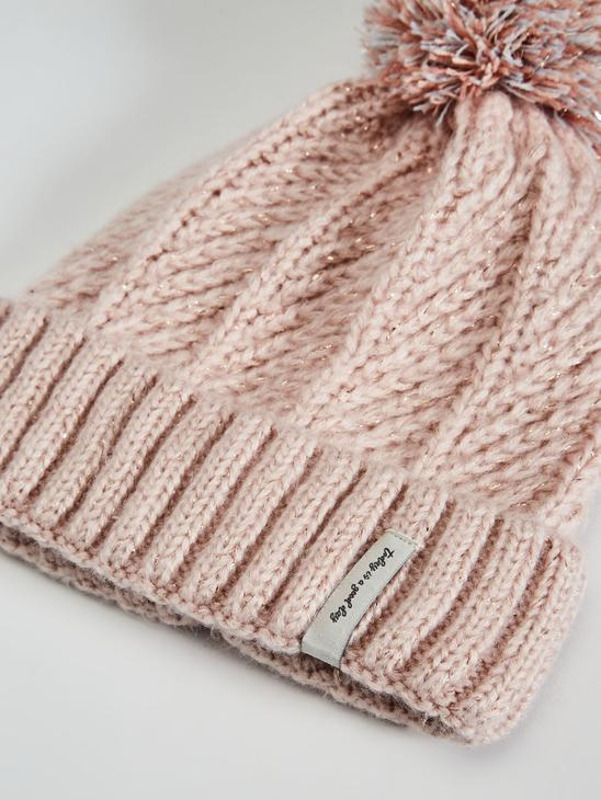 PINK - Girl's Tricot Beret with Pompoms - 0WJ967Z4