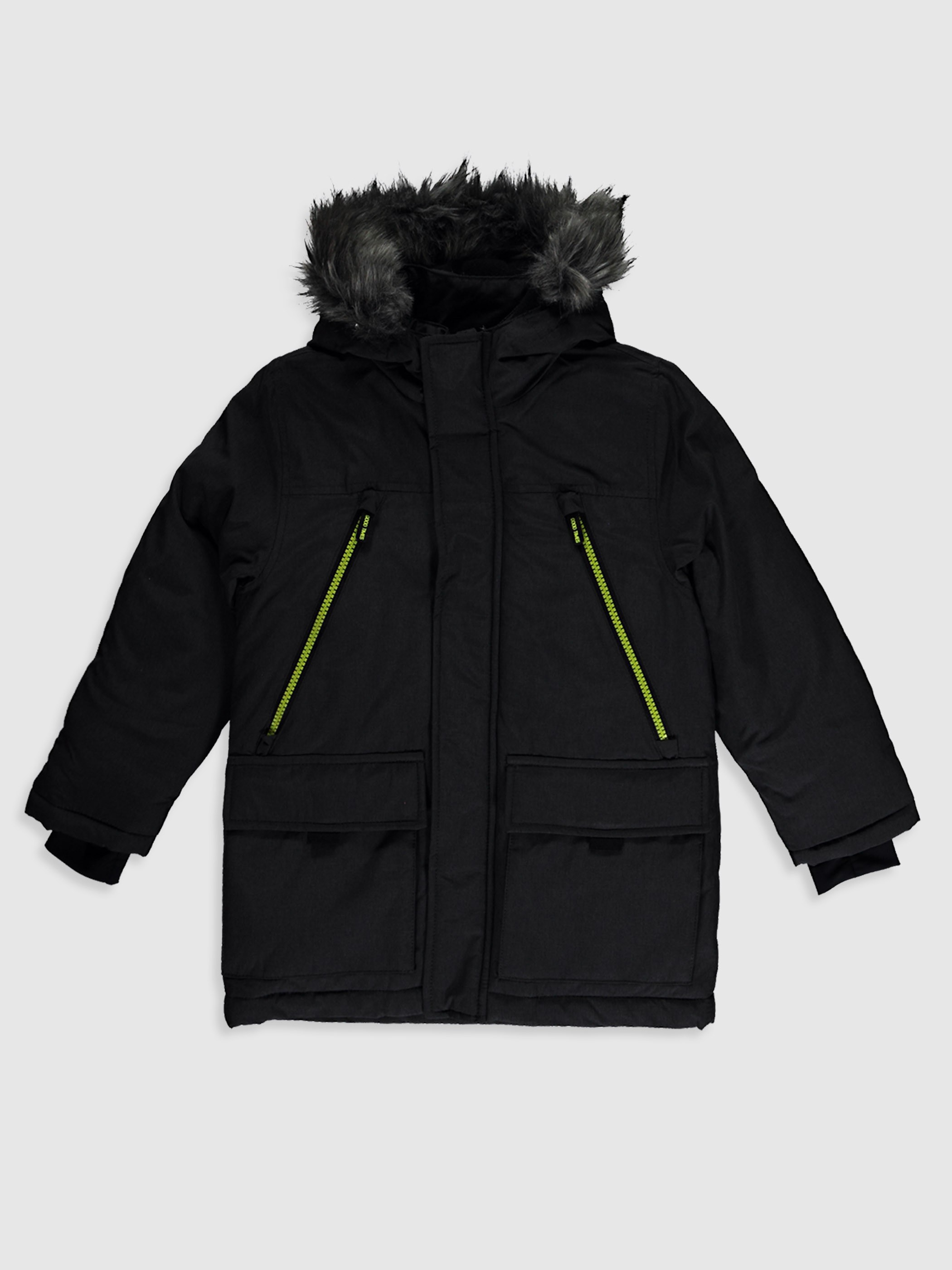 ANTHRACITE - Boy's Heavy Short Coat with Hood - 0W1642Z4