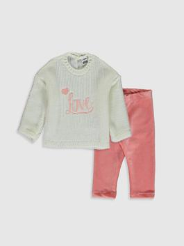 GREY - Baby Girl's Jumper and Leggings