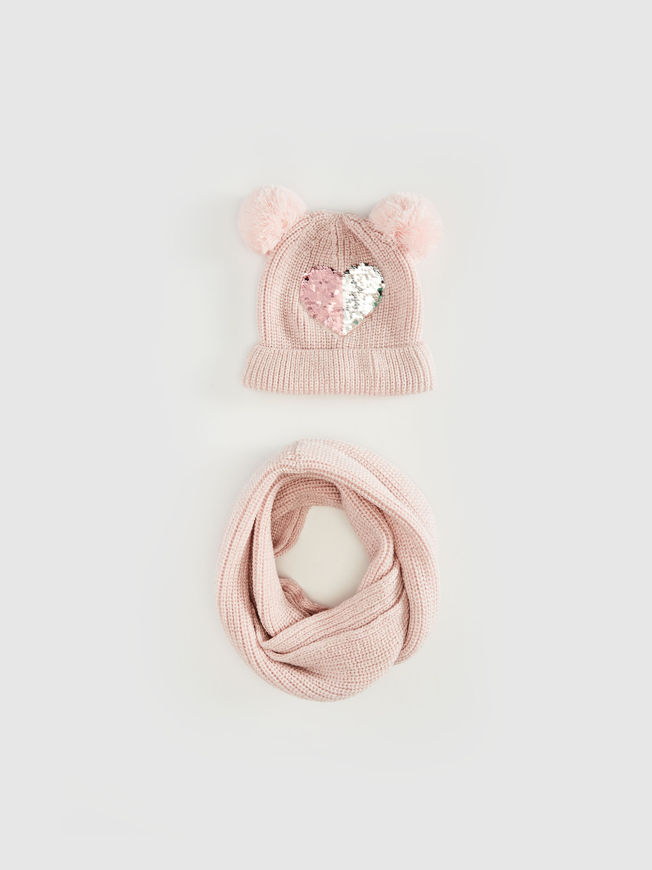 PINK - Girl Sequined Knitwear Beanie and Neck Collar - 0W5704Z4