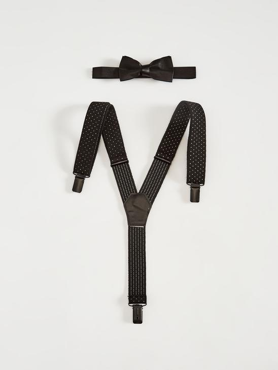BLACK - Boy's Clip on Suspenders and Bowtie - S18257Z4
