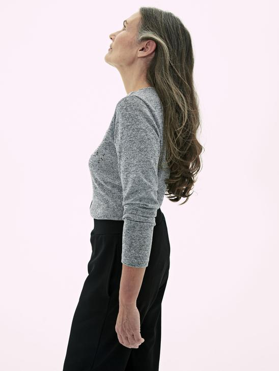 GREY - Long Sleeve T-Shirt with Button Detail - 0WCN84Z8