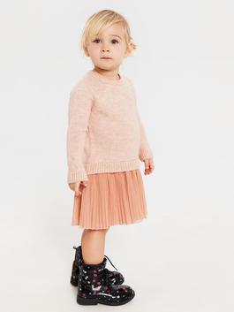 ORANGE - Baby Girl's Basic Tricot Dress Mother and Daughter Matching