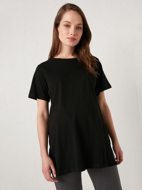 BLACK - Crew Neck Straight Short Sleeve Cotton Maternity T-Shirt - S1AI85Z8