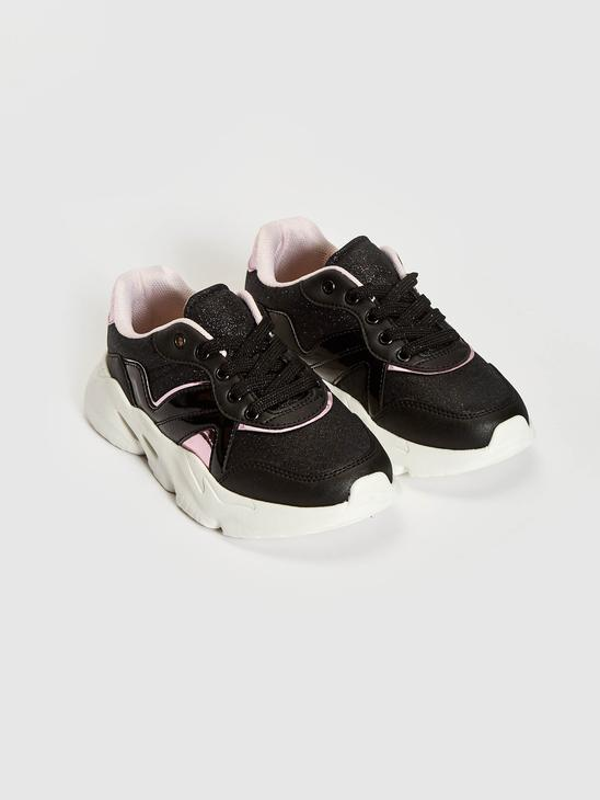 BLACK - Girls Lace-Up Thick Soled Sneaker - S15973Z4