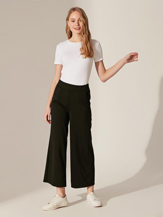 BLACK - Elastic Waist Loose Leg Trousers Mother and Daughter Matching - 0SN367Z4