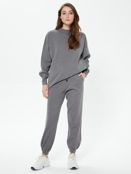 GREY - MODEST Tie Waist Detailed Knit Trousers