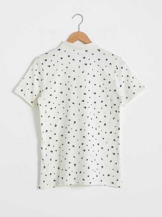 ECRU - Flower Printed Polo Neck T-Shirt - S18191Z8