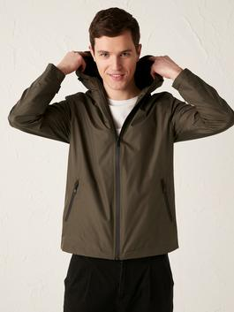 GREEN - Hooded Stand Up Collar Thin Men's Coat - S11036Z8