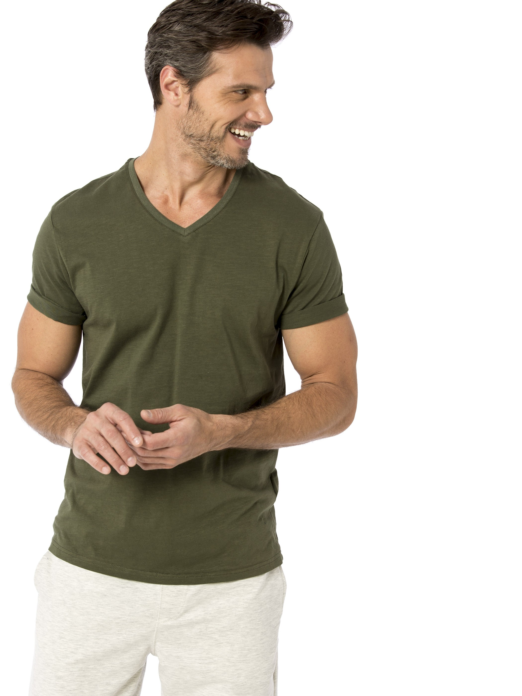 GREEN - V-Neck and Short Sleeve Cotton T-Shirt - 8S1290Z8