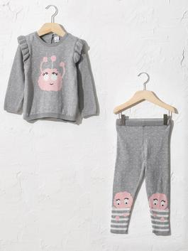 GREY - Baby Girl's Tricot Jumper and Leggings