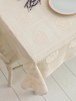 BEIGE - Lace Detailed Patterned Tablecloth