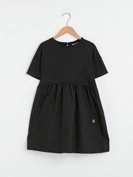 BLACK - Crew Neck Basic Short Sleeve Girl Dress