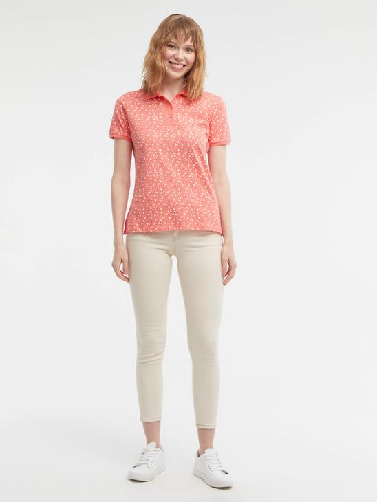 PINK - Flower Printed Polo Neck T-Shirt - S18191Z8